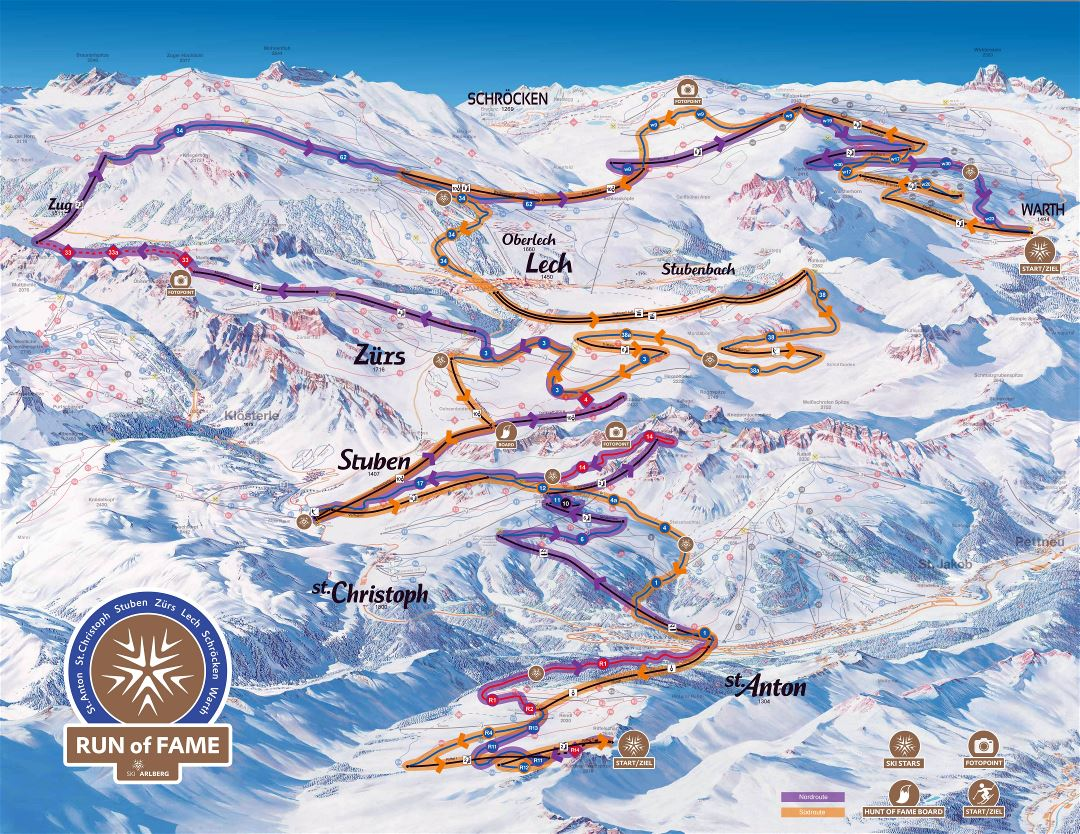Large scale winter run map of Arlberg Ski Resort - 2016