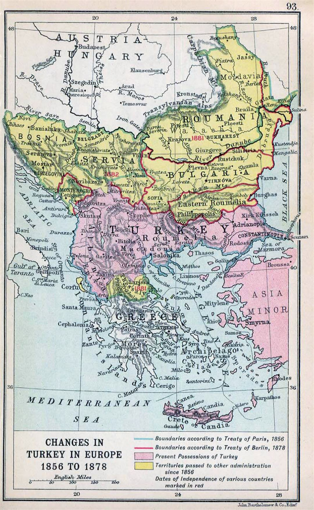 Detailed old map of Balkans with relief - 1912