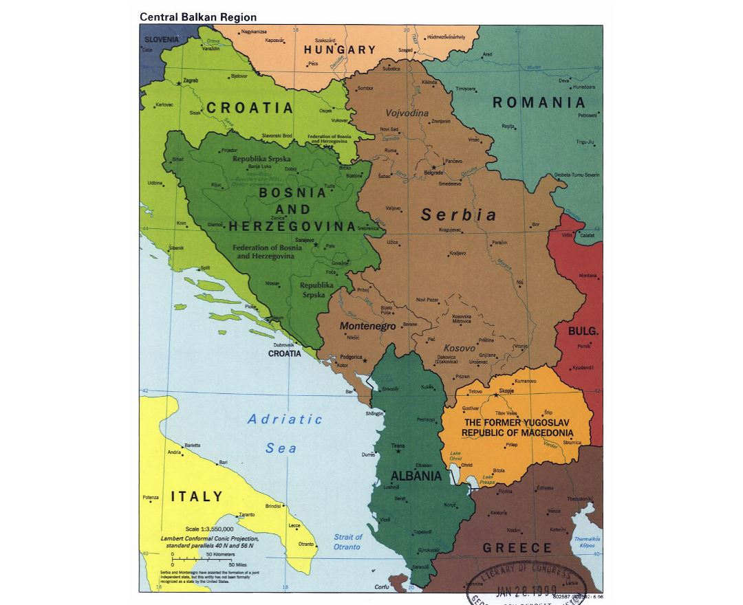 Detailed political map of Central Balkan Region with major cities - 1998