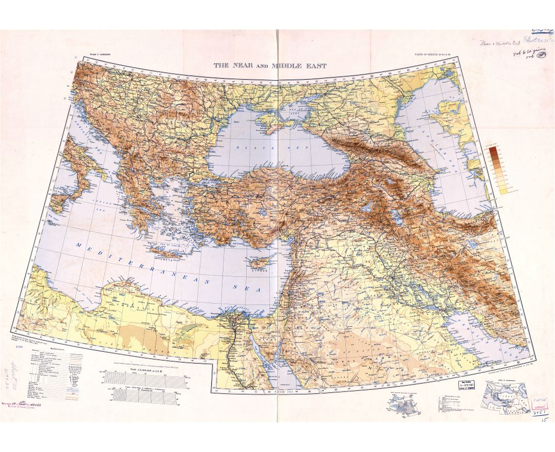 In high resolution old physical map of the Near and Middle East with Balkan Peninsula - 1941