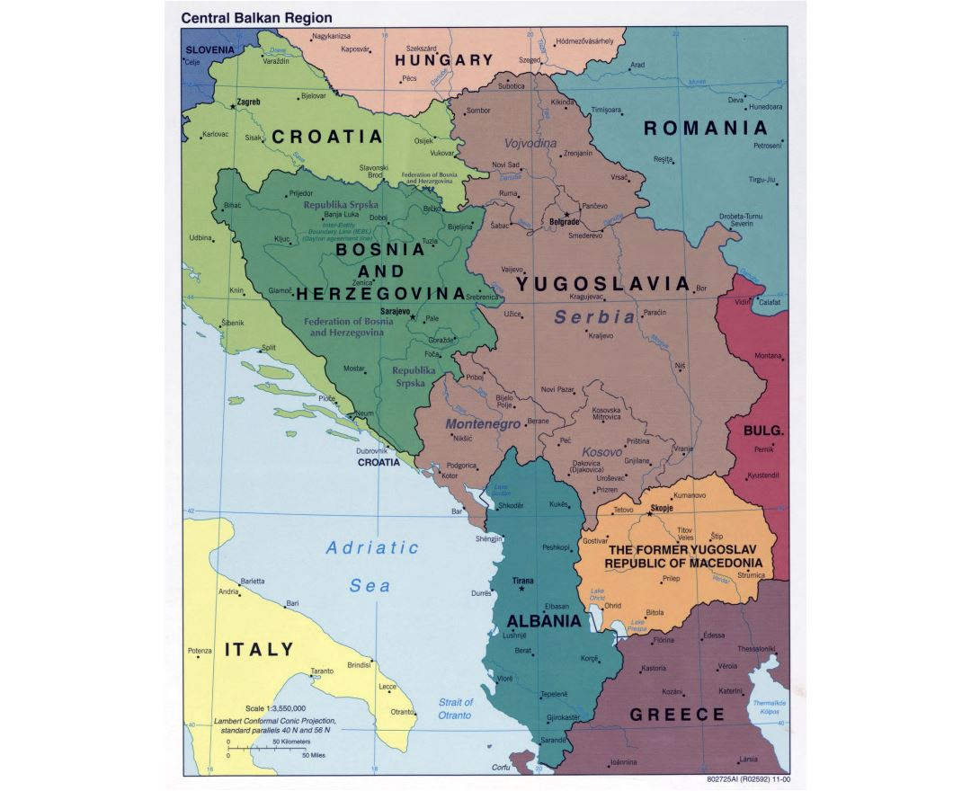 Large detailed political map of Central Balkan Region with major cities - 2000