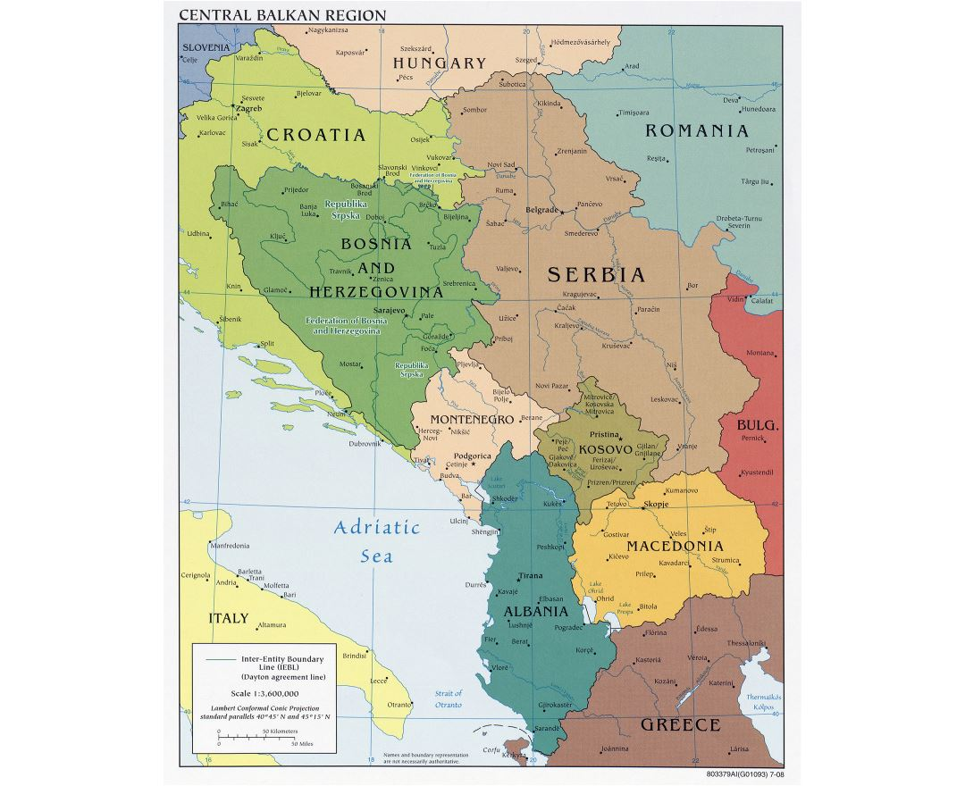 Large detailed political map of Central Balkan Region with major cities - 2008