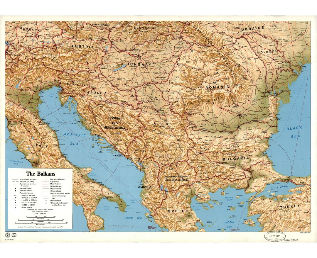 Large detailed political map of the Balkans with relief, cities, roads, railroads, seaports, airports and other marks - 1999