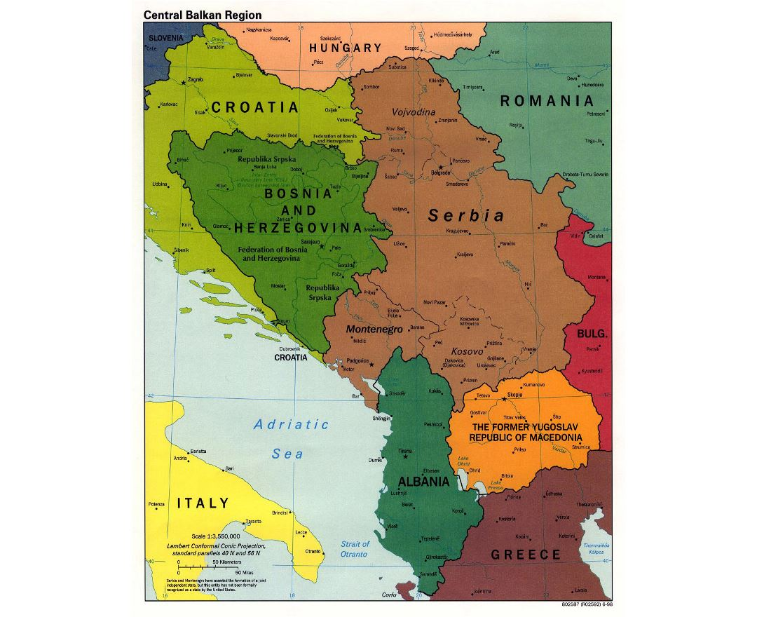 Large political map of Central Balkan Region with cities - 1998