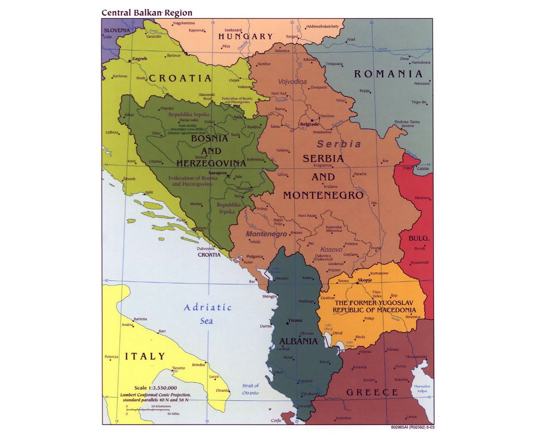 Large political map of Central Balkan Region with major cities - 2003