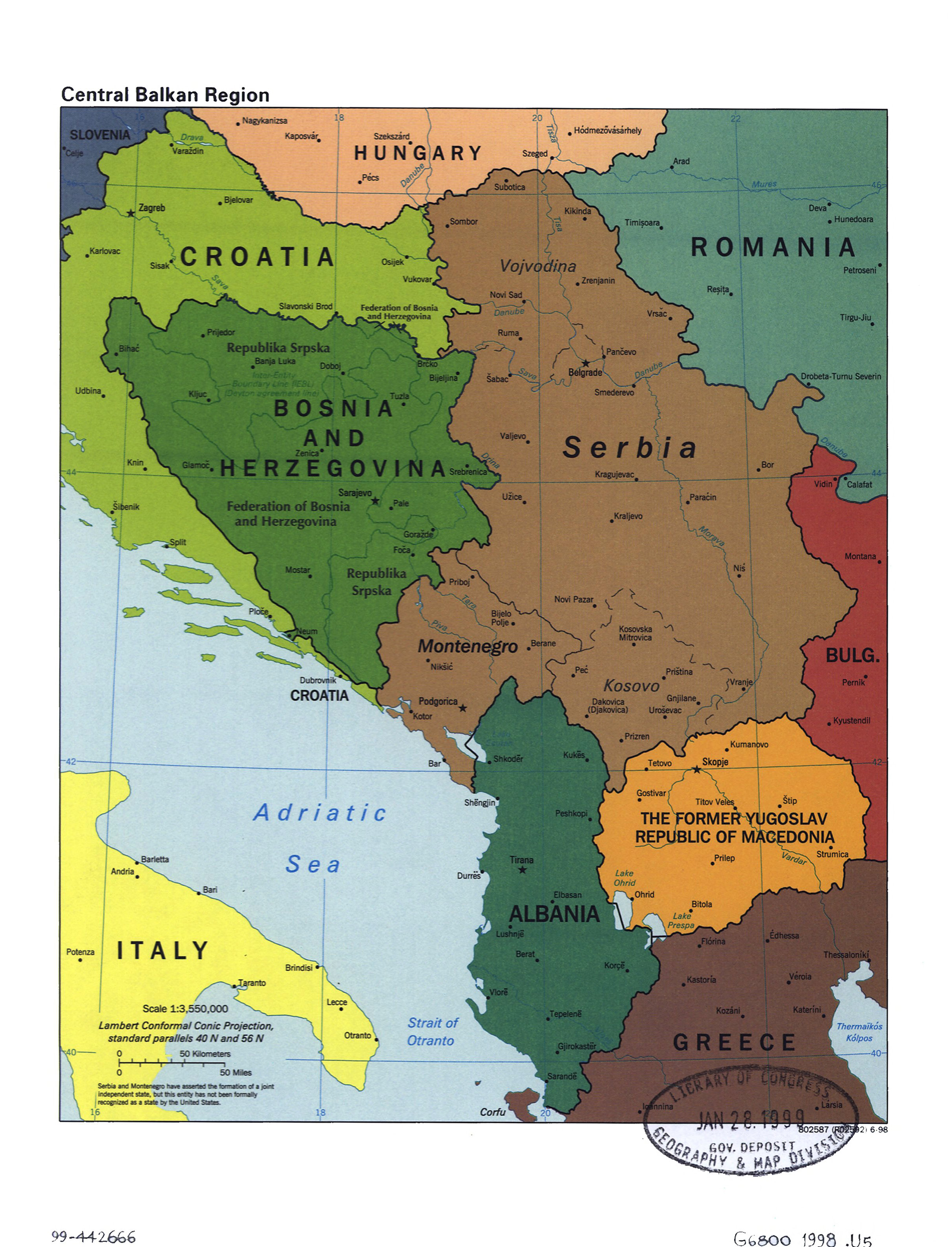 Large political map of Central Balkan Region with marks of capitals ...