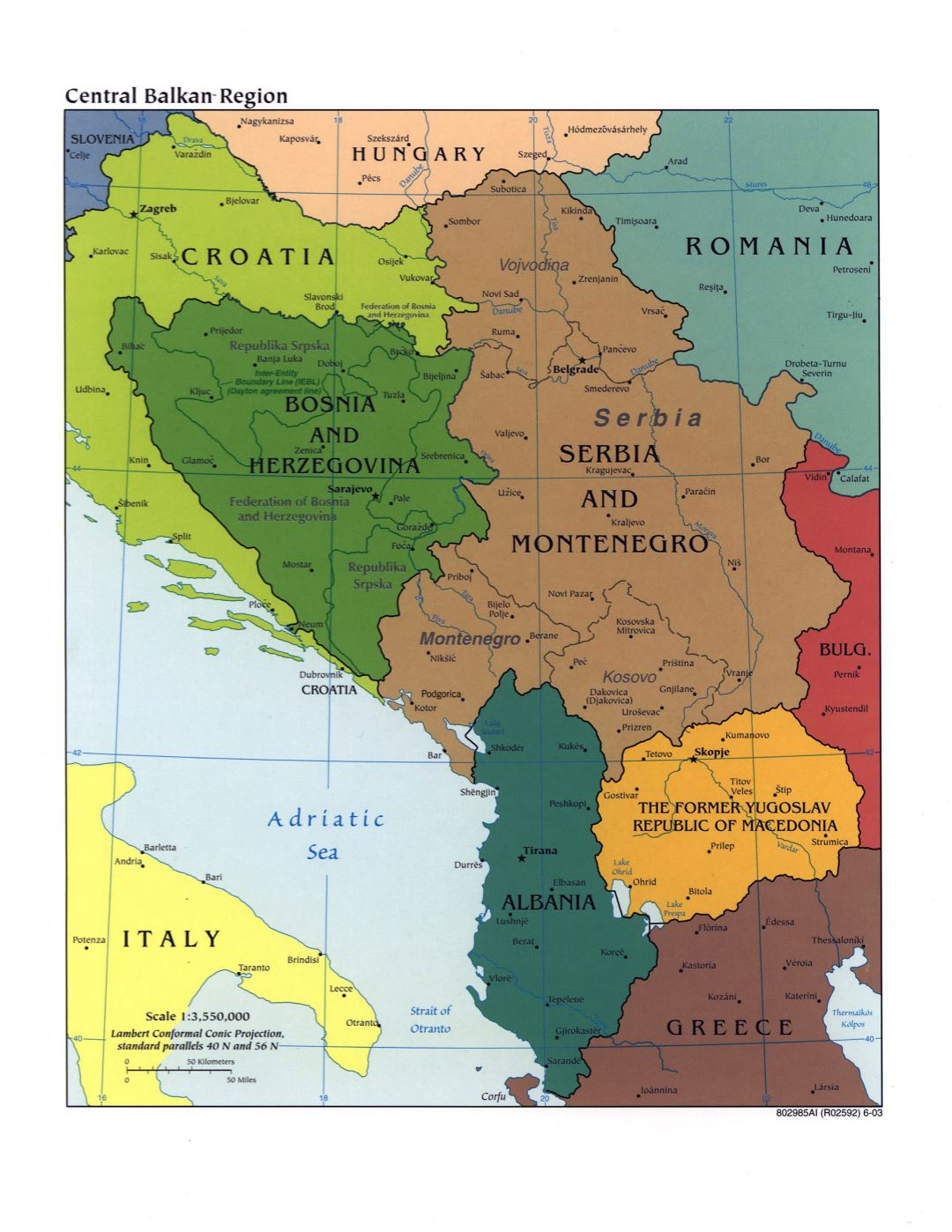 Large political map of Central Balkan Region with marks of capitals, large cities and names of states - 2003