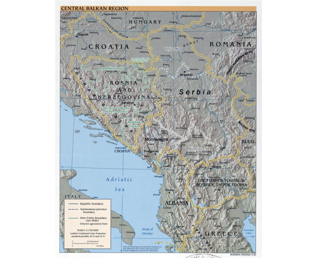 Large political map of Central Balkan Region with relief and major cities - 2000
