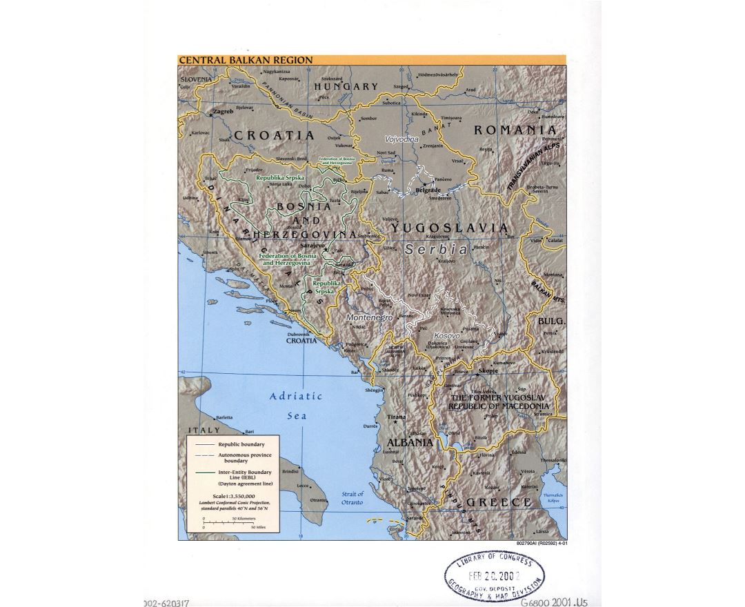 Large political map of Central Balkan Region with relief, marks of capitals, large cities and names of states - 2001