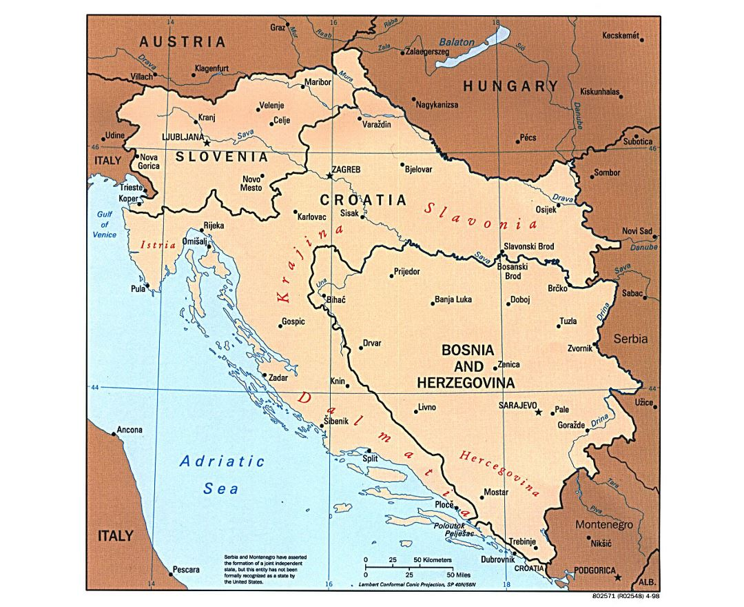 Large political map of Western Balkans with major cities - 1997