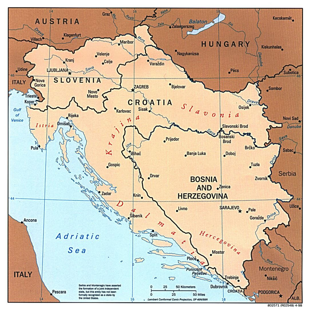 Large political map of Western Balkans with major cities 1997 – Map of Western Europe with Major Cities