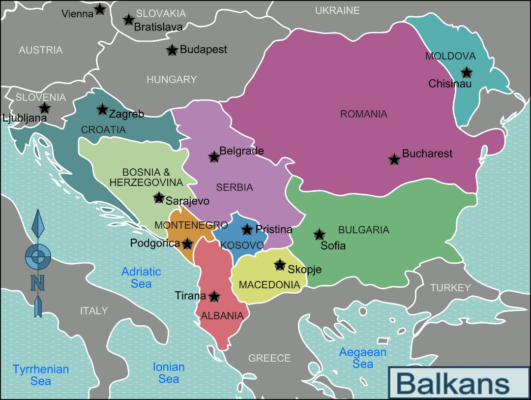 Large regions map of Balkans