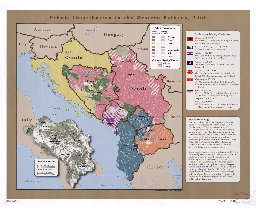 Large scale map of ethnic distribution in the Western Balkans - 2008