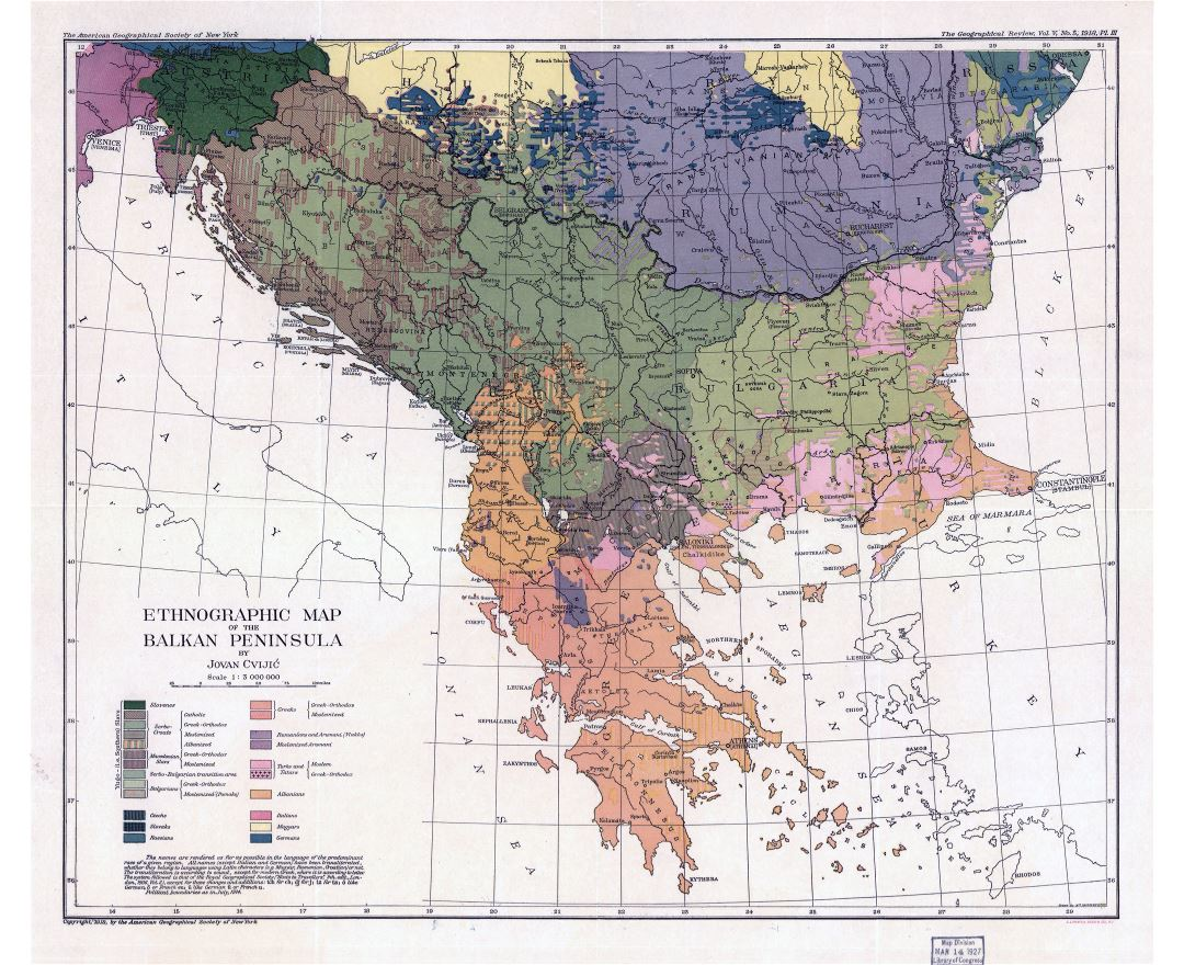 Large scale old ethnographic map of the Balkan Peninsula - 1918