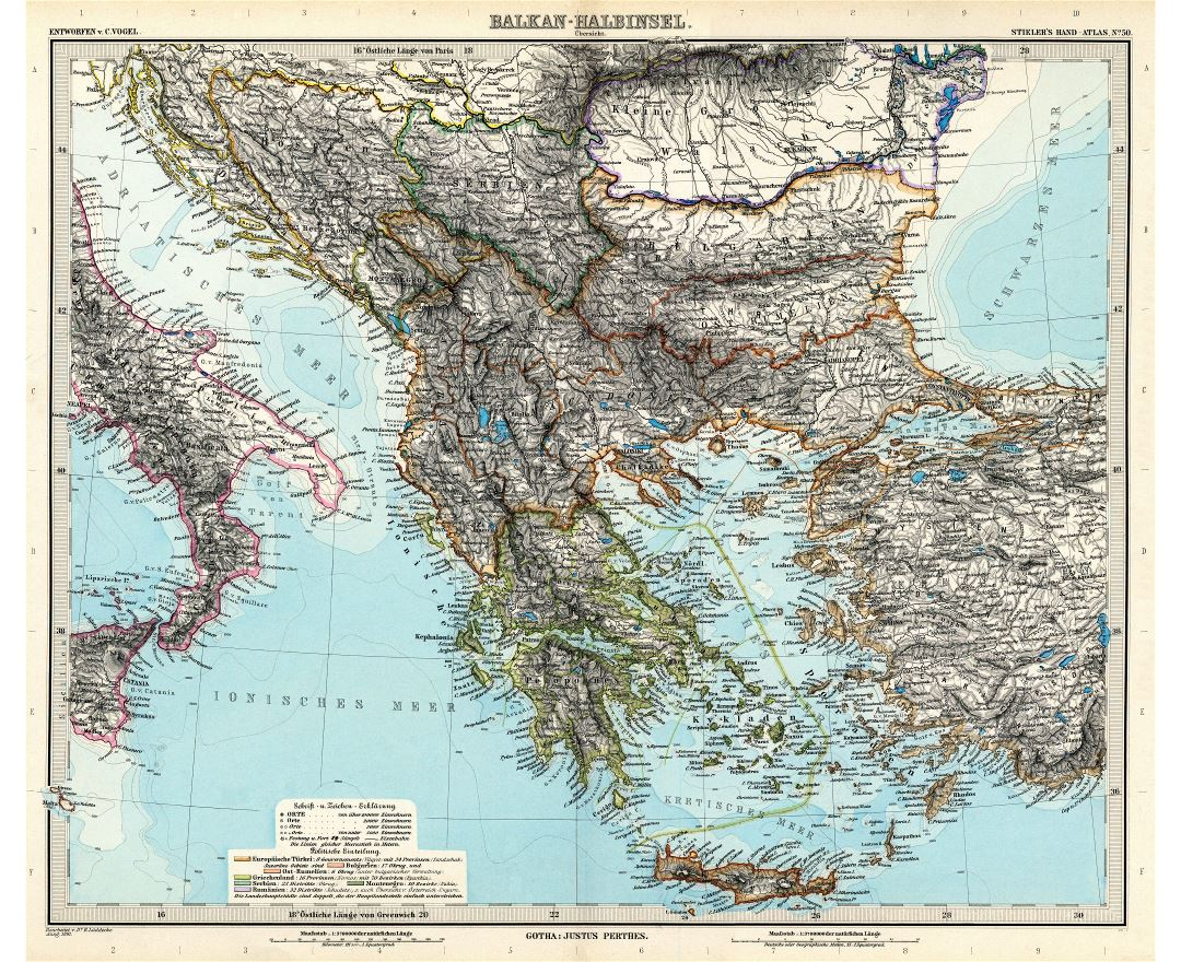 Large scale old map of Balkans - 1891