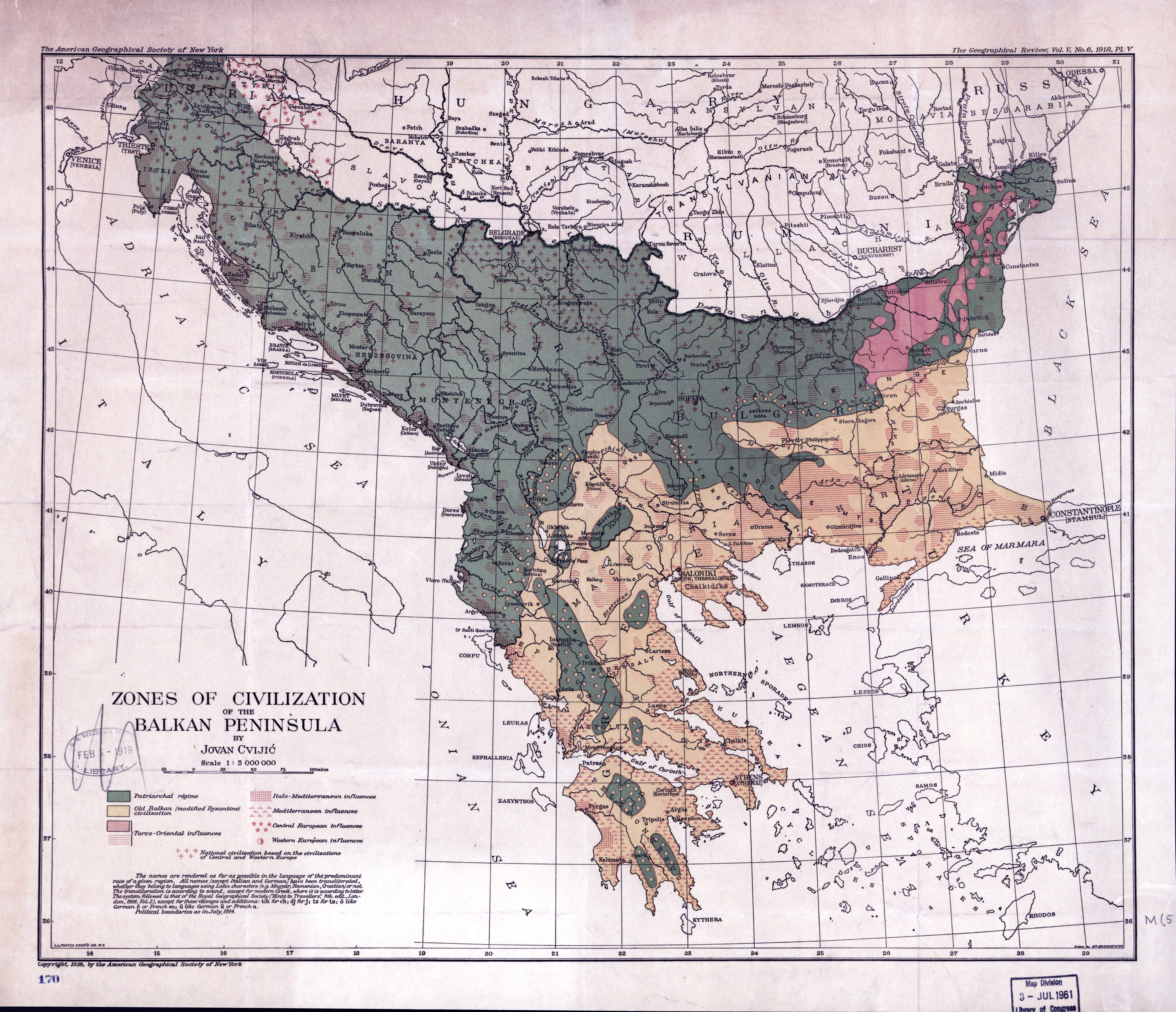Large scale old map of zones of civilization of the Balkan Peninsula ...