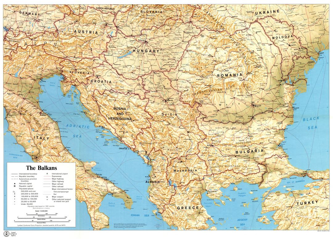 Large scale political map of the Balkans with relief, marks of cities, roads, railroads, seaports, airports, names of countries and other marks - 1993