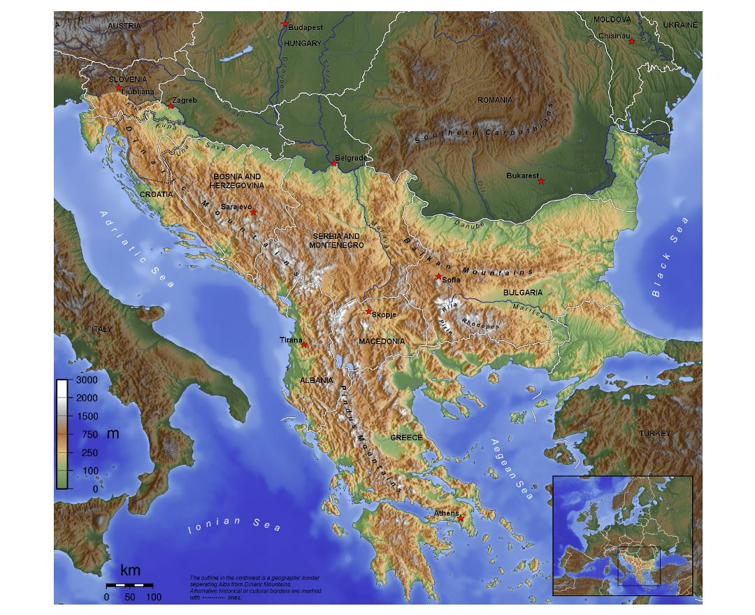 Large topographical map of Balkans