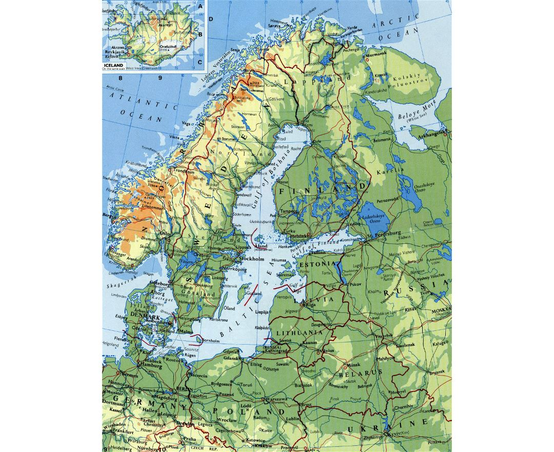 Detailed elevation map of Scandinavia