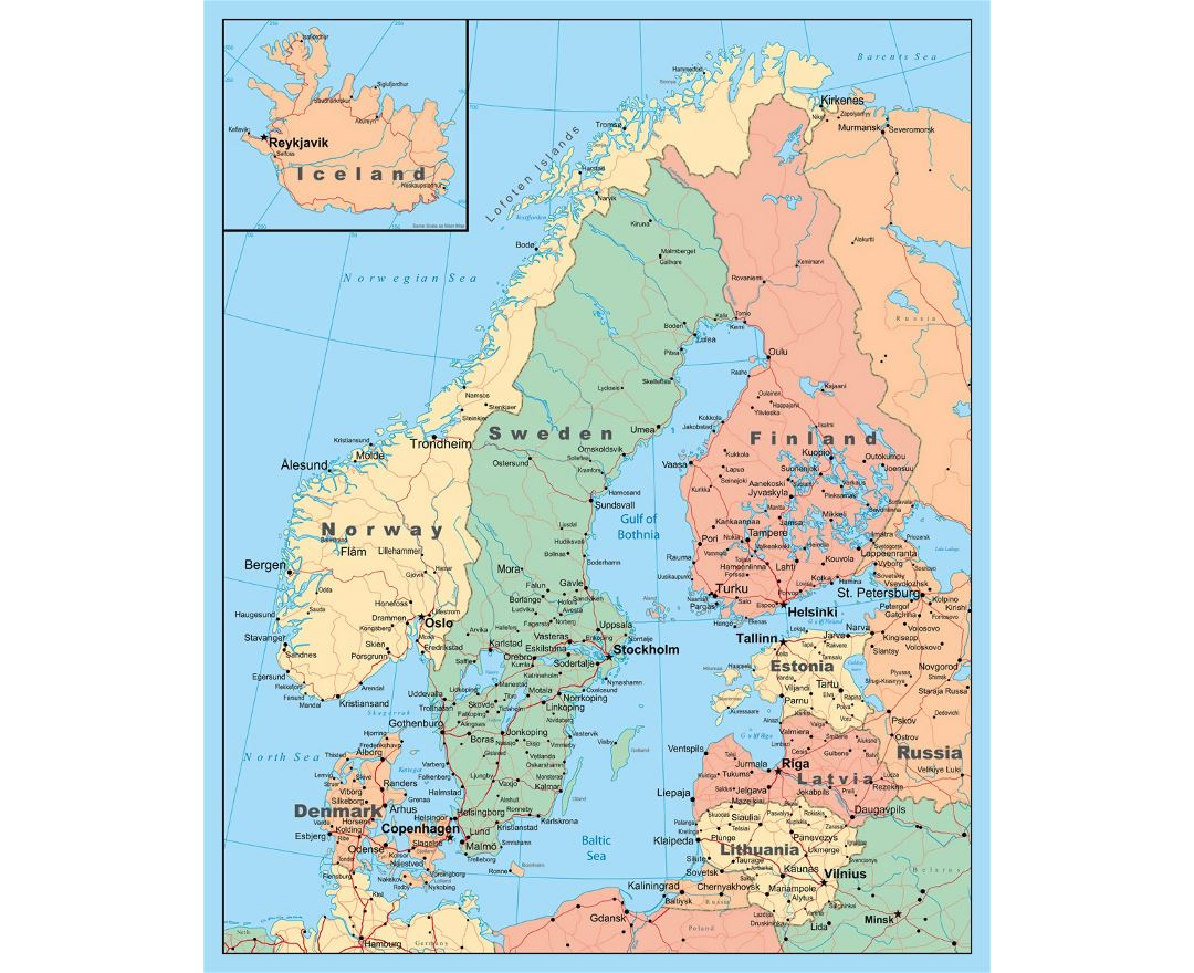 Detailed political map of Scandinavia