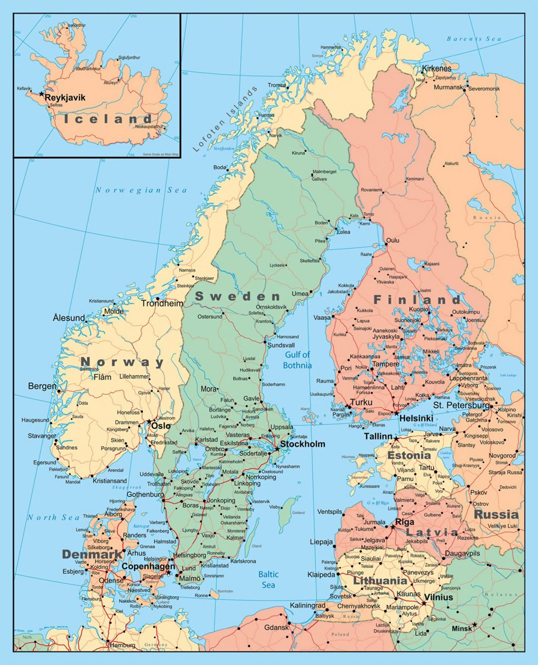Detailed political map of Scandinavia Baltic and Scandinavia