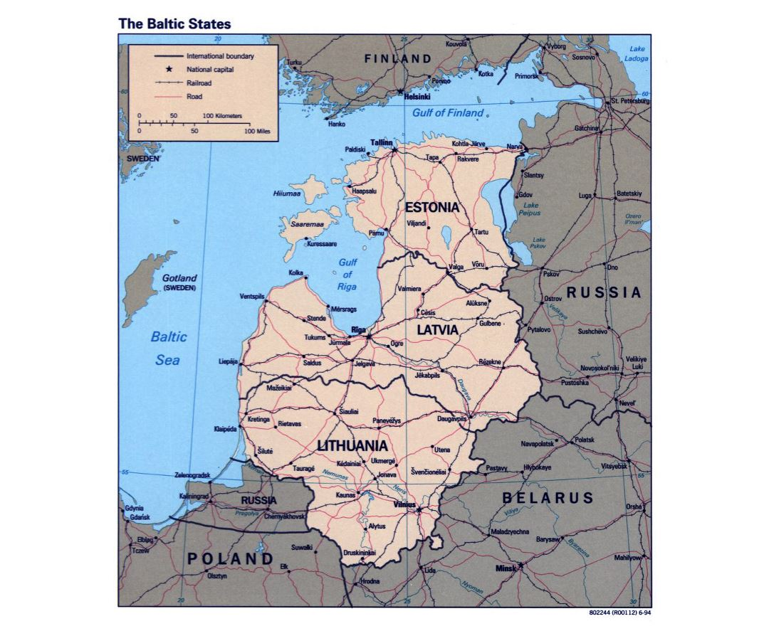 Detailed political map of the Baltic States - 1994