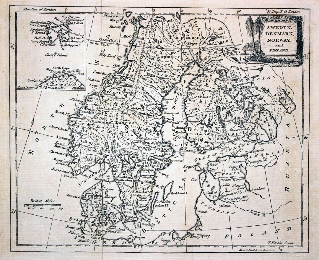 Large detailed old map of Scandinavia - 1780