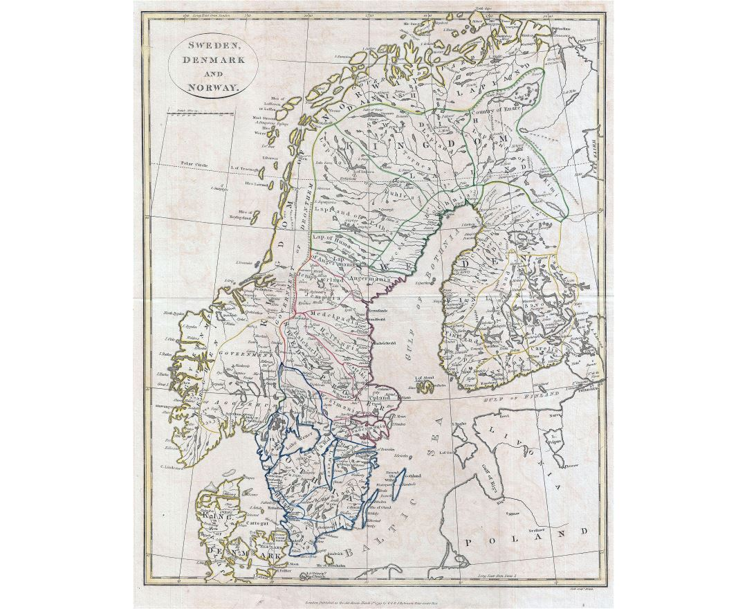 Large detailed old map of Scandinavia - 1799