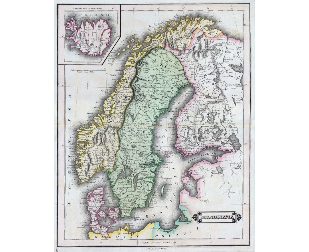 Large detailed old map of Scandinavia - 1840