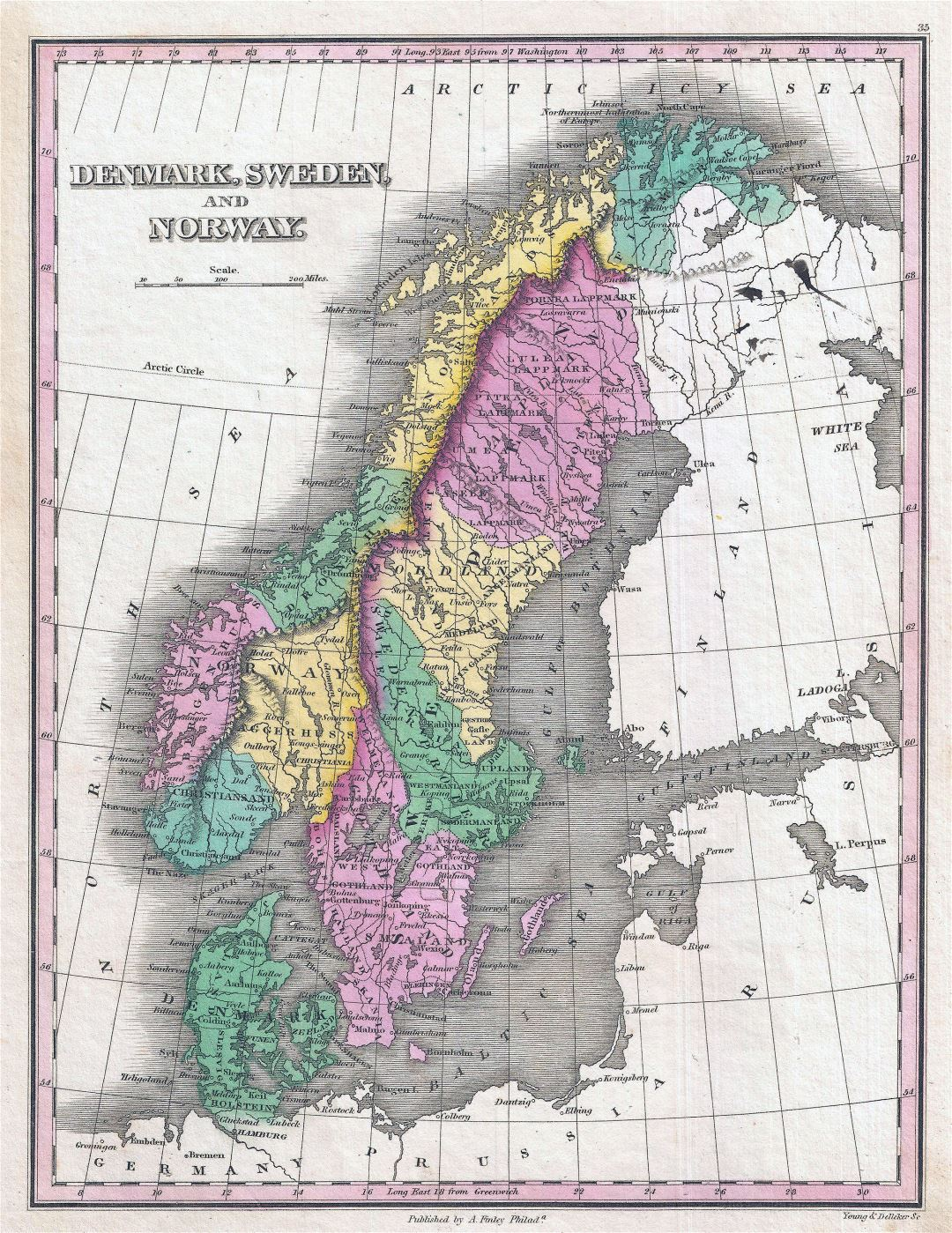 Large detailed old political map of Scandinavia - 1827