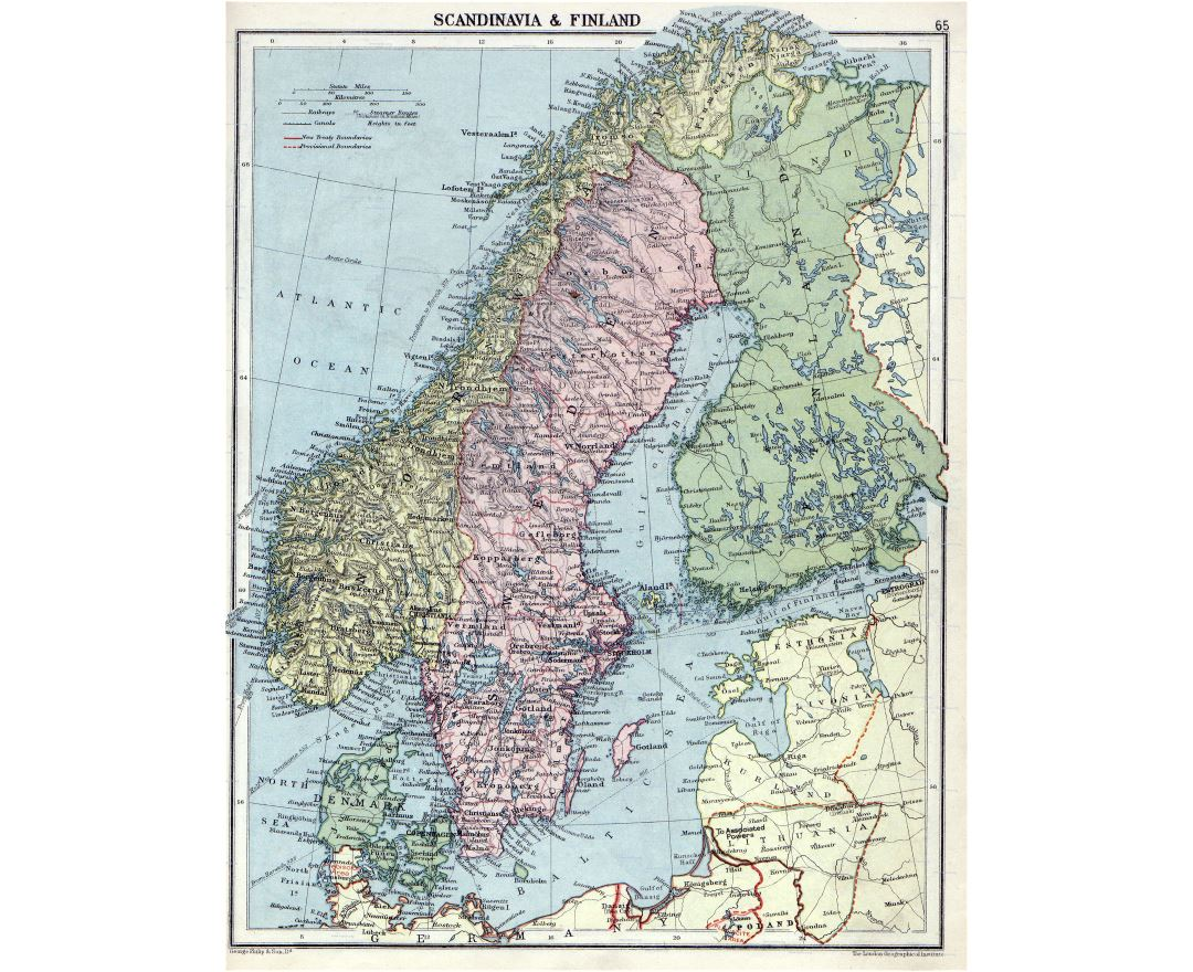 Large detailed old political map of Scandinavia with relief - 1920
