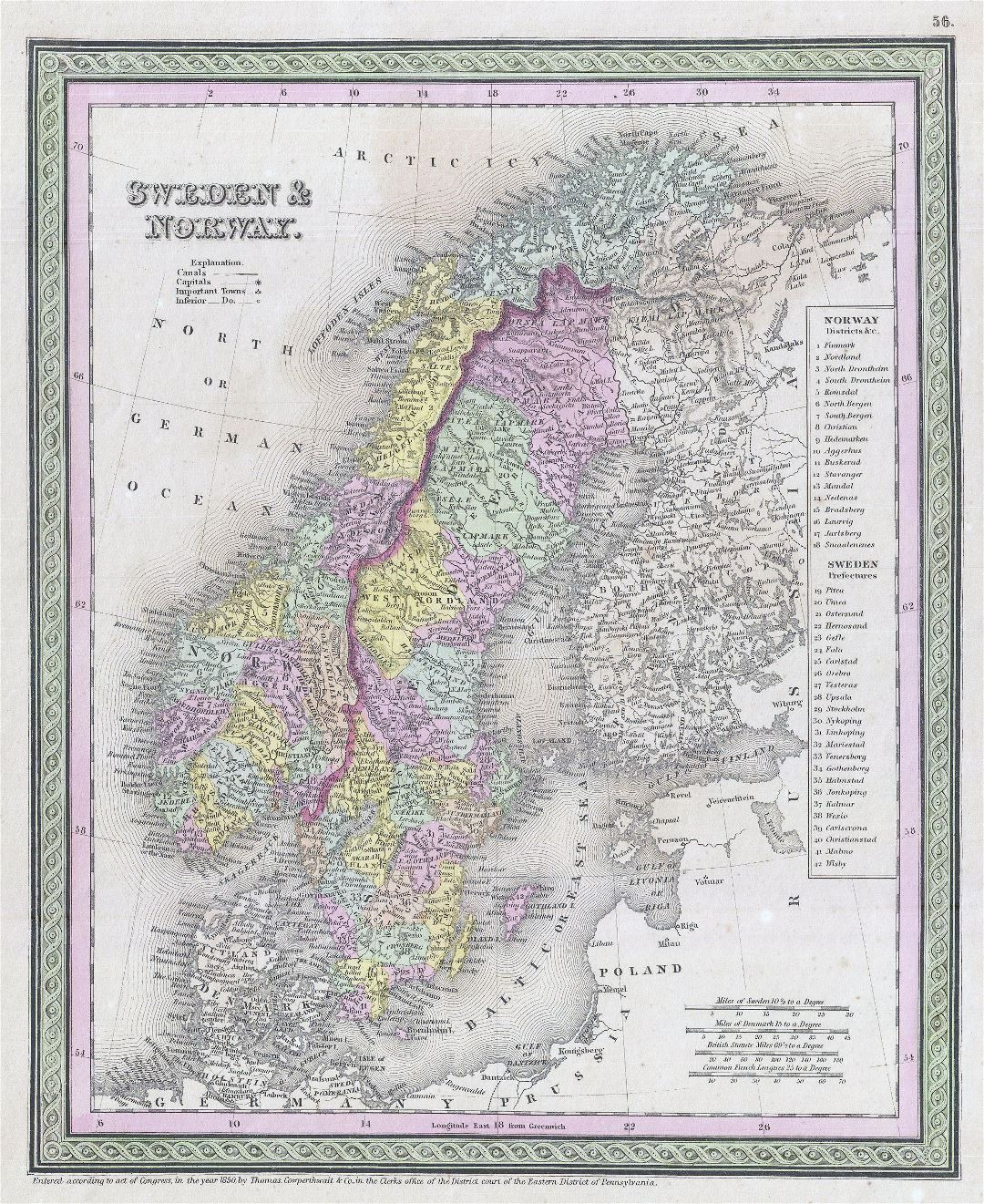 Large detailed old political map of Sweden and Norway - 1850