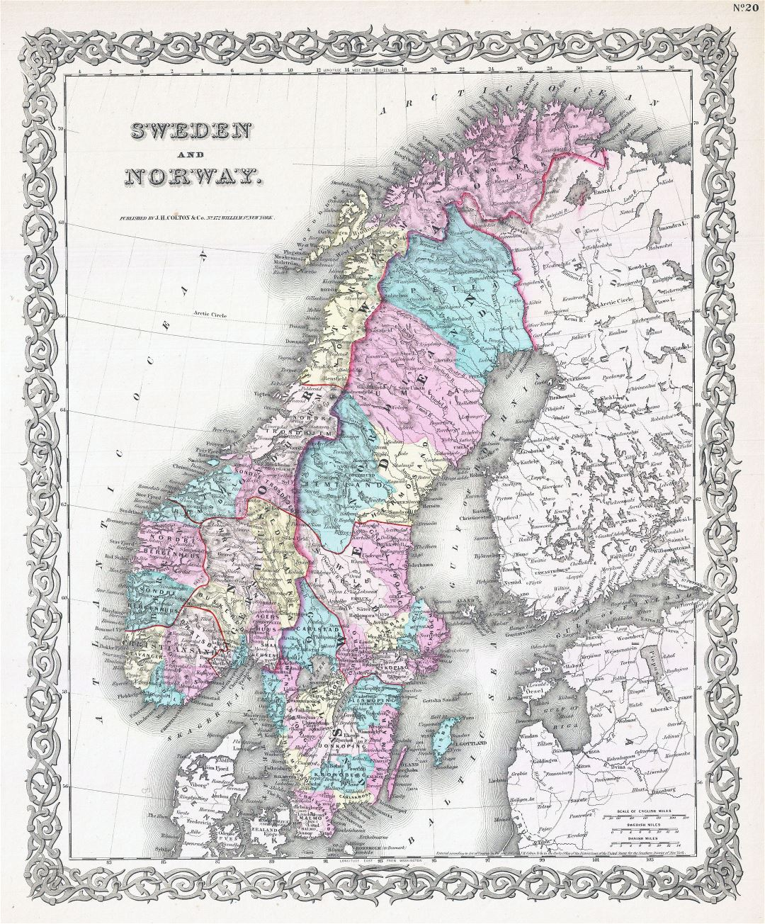 Large detailed old political map of Sweden and Norway with relief - 1855