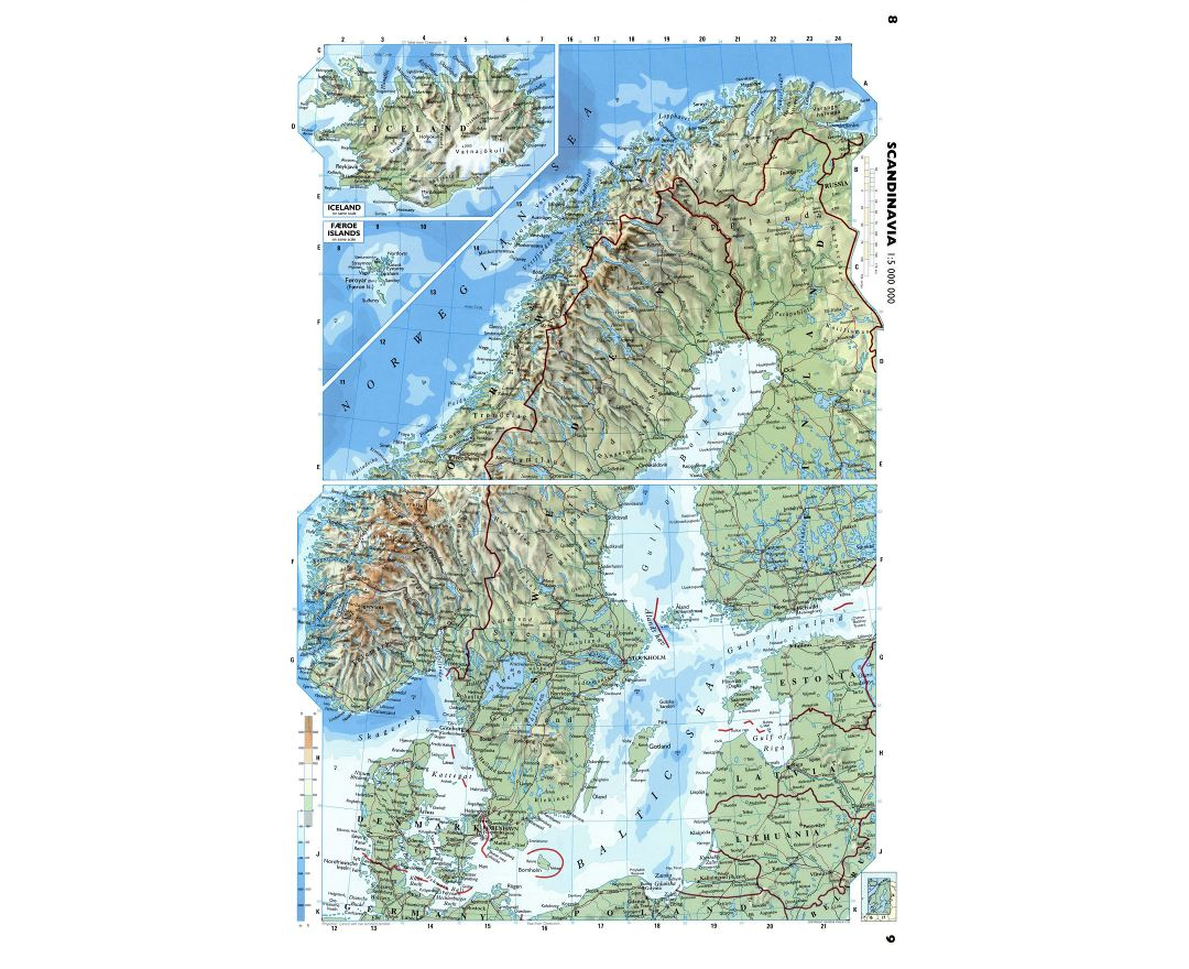 Large detailed physical map of Scandinavia