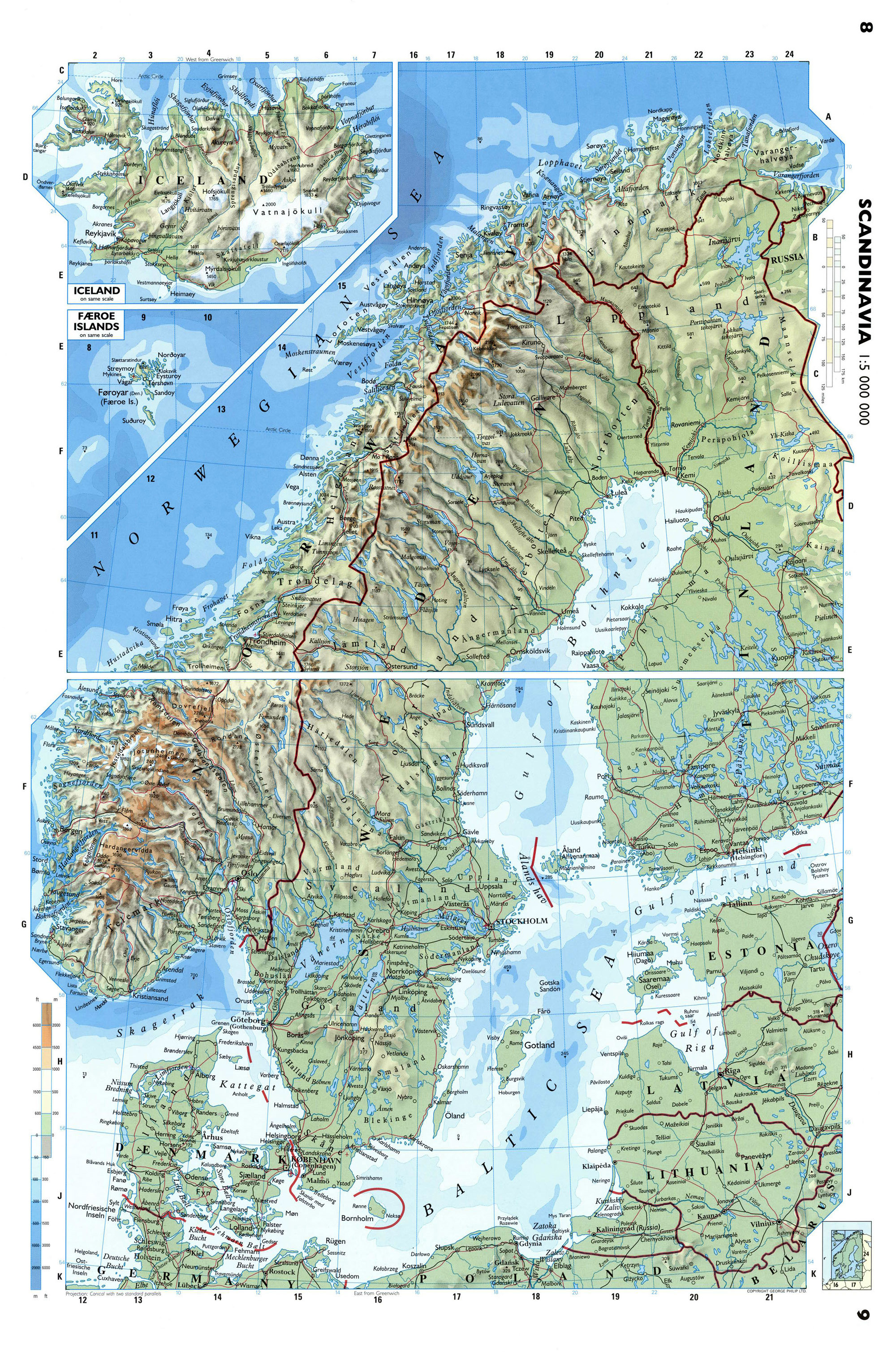Large detailed physical map of Scandinavia Baltic and Scandinavia