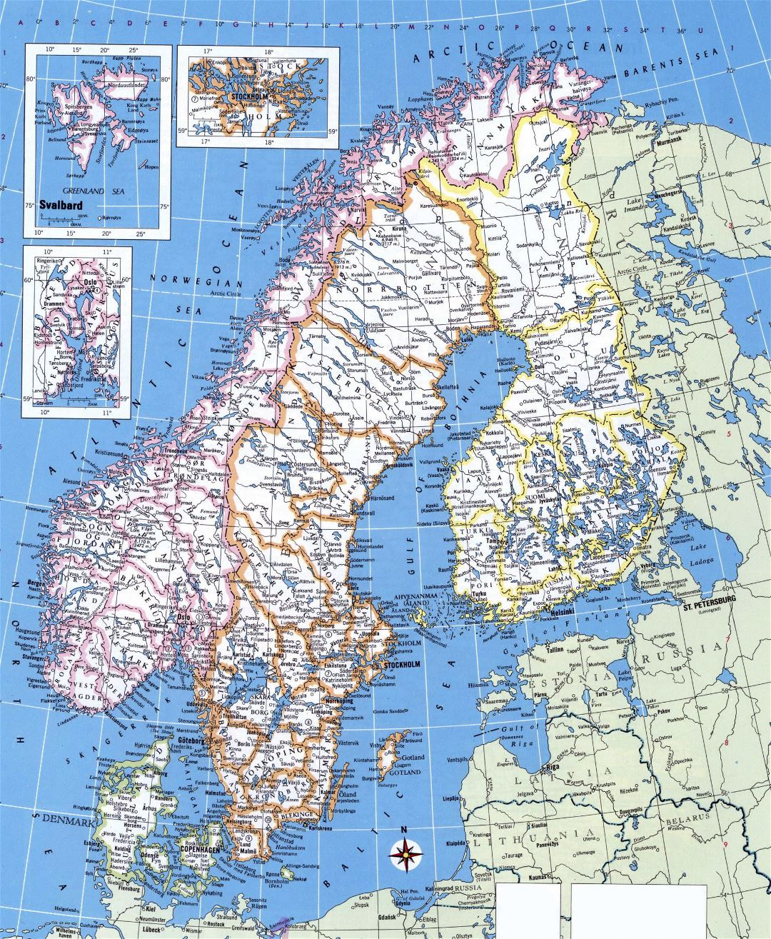 Large detailed political map of Norway, Sweden, Finland and Denmark