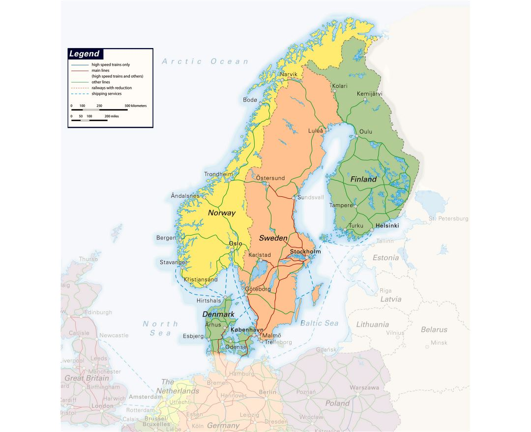 Large detailed railways map of Scandinavia