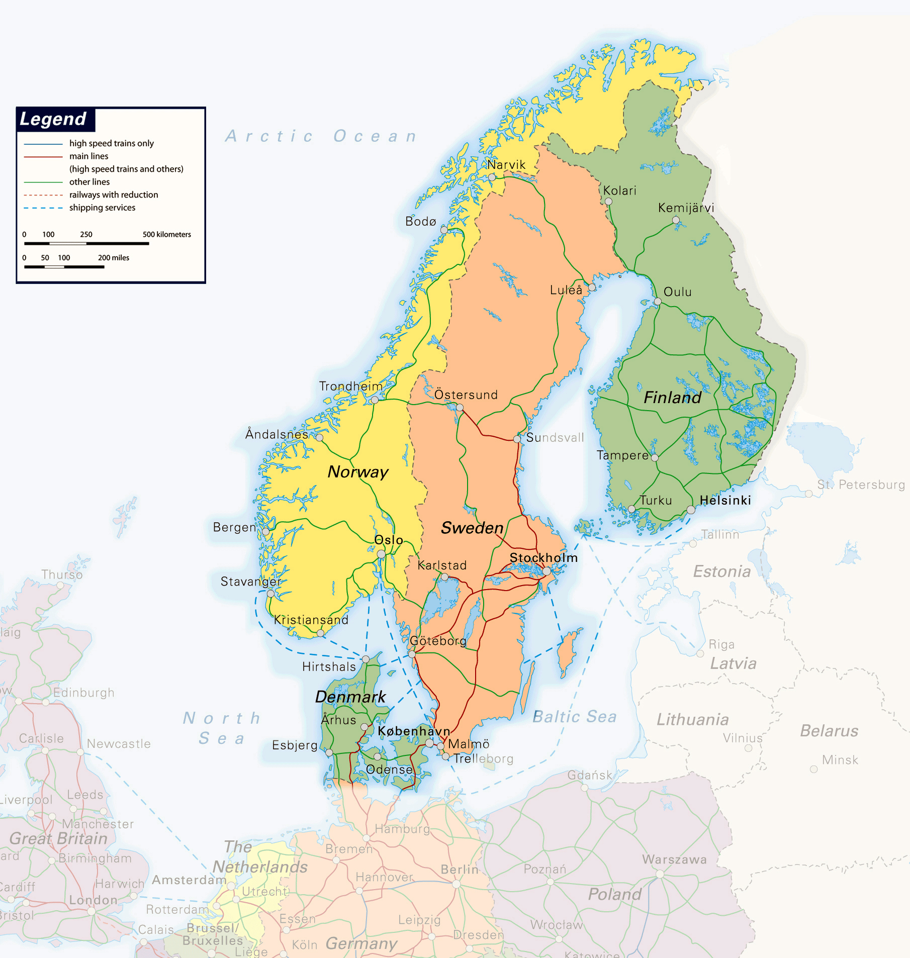 Large detailed railways map of Scandinavia Baltic and Scandinavia