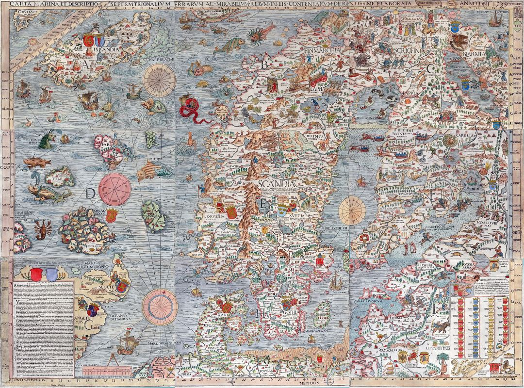 Large old illustrated map of Scandinavia