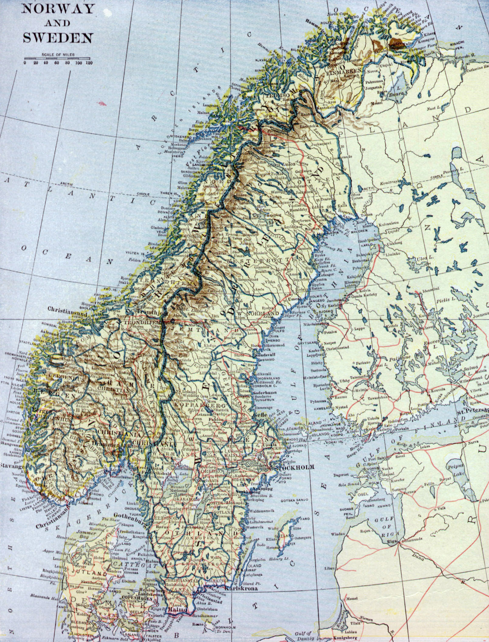 Large Old Map Of Norway And Sweden With Relief Roads And Cities - Map of cities in norway