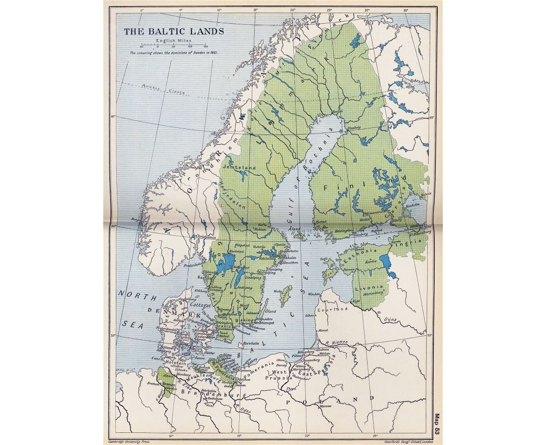 Large old map of the Baltic Lands - 1661
