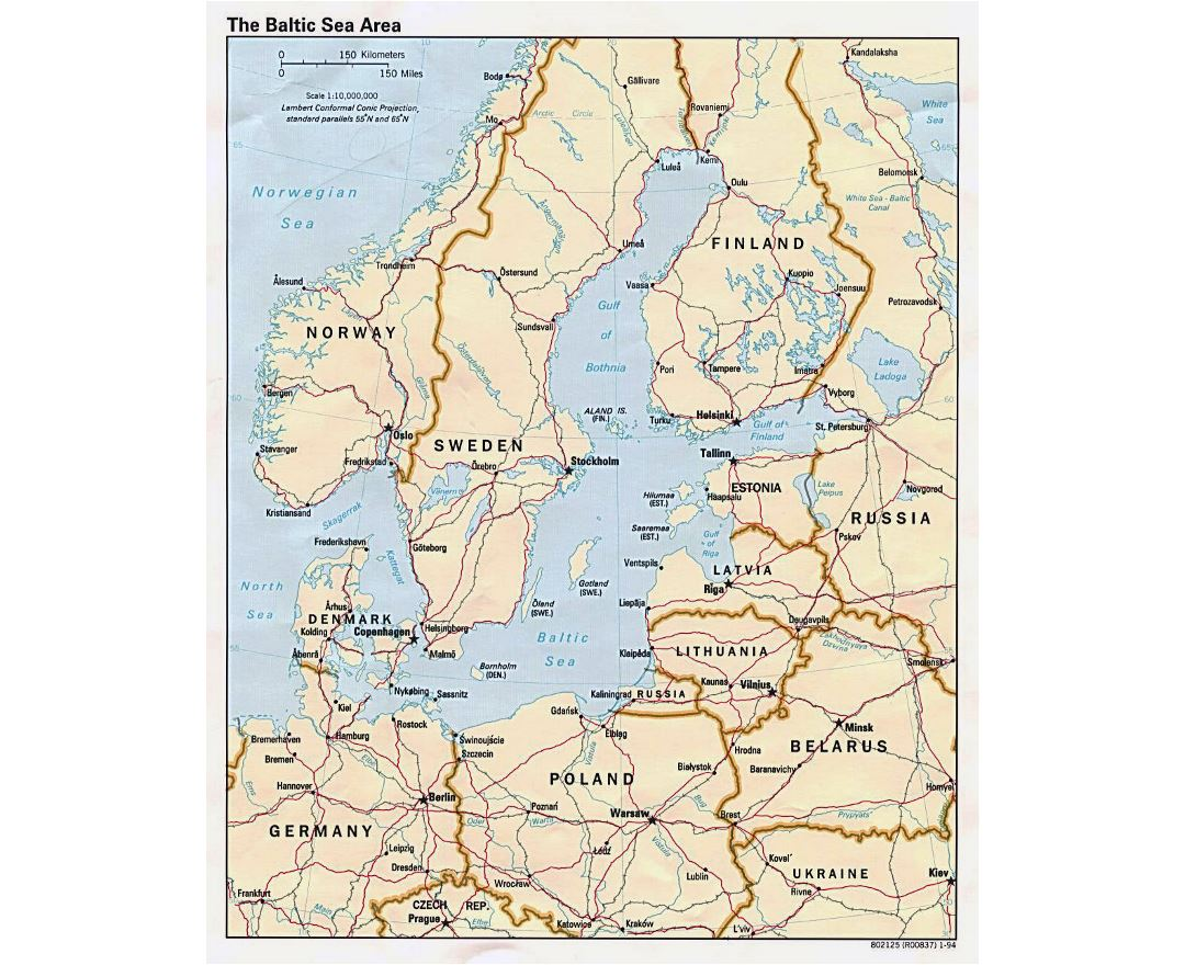 Large political map of the Baltic Sea Area - 1994