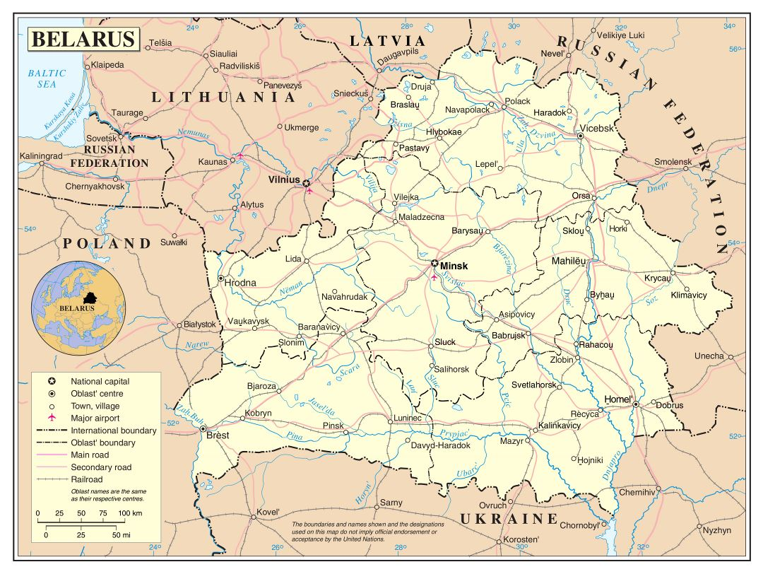 Large detailed political and administrative map of Belarus with roads, major cities and airports
