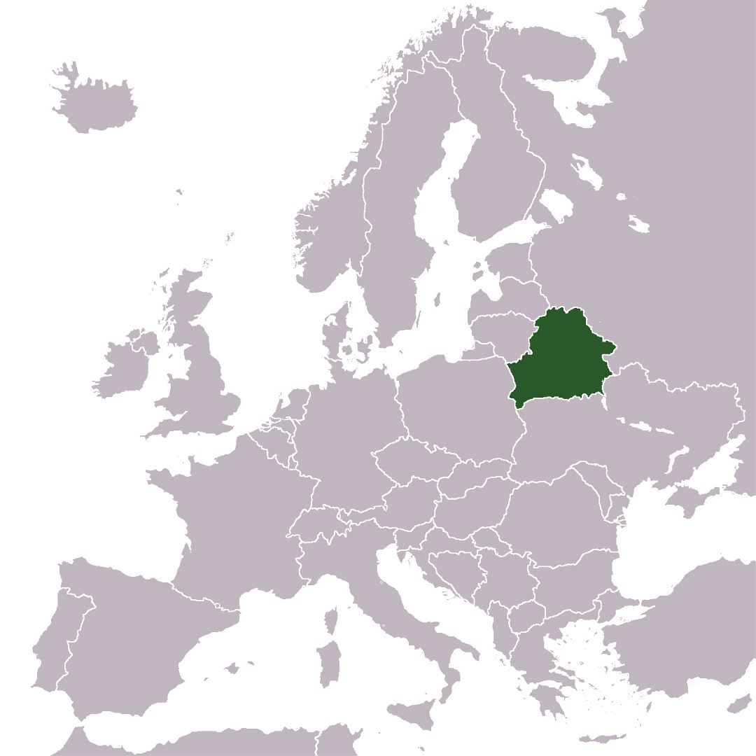 Large location map of Belarus in Europe