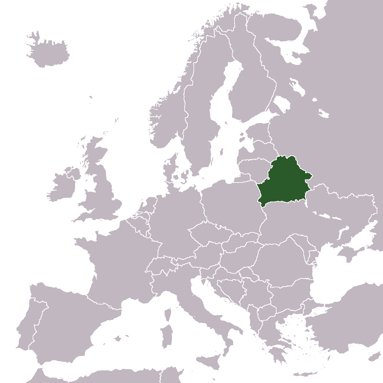Large location map of Belarus in Europe Belarus Europe