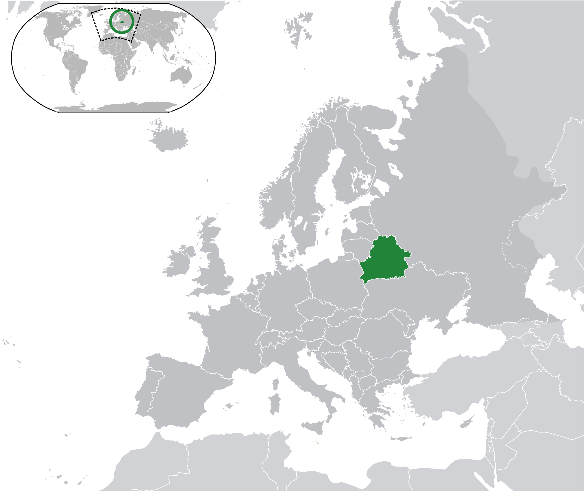 Large location map of Belarus in the World Belarus Europe