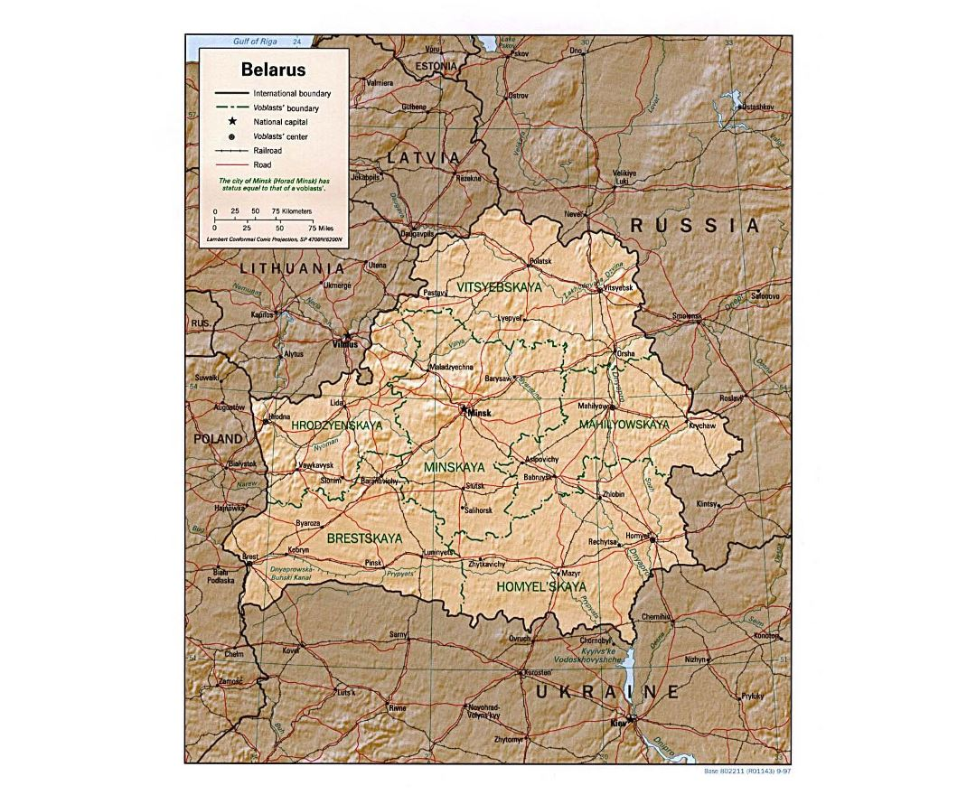 Large political and administrative map of Belarus with relief, roads and major cities - 1997