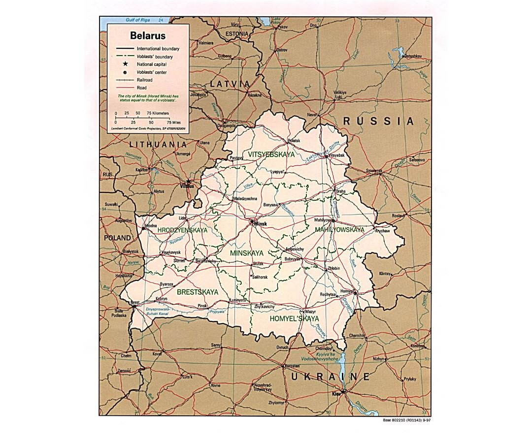 Large political and administrative map of Belarus with roads and major cities - 1997