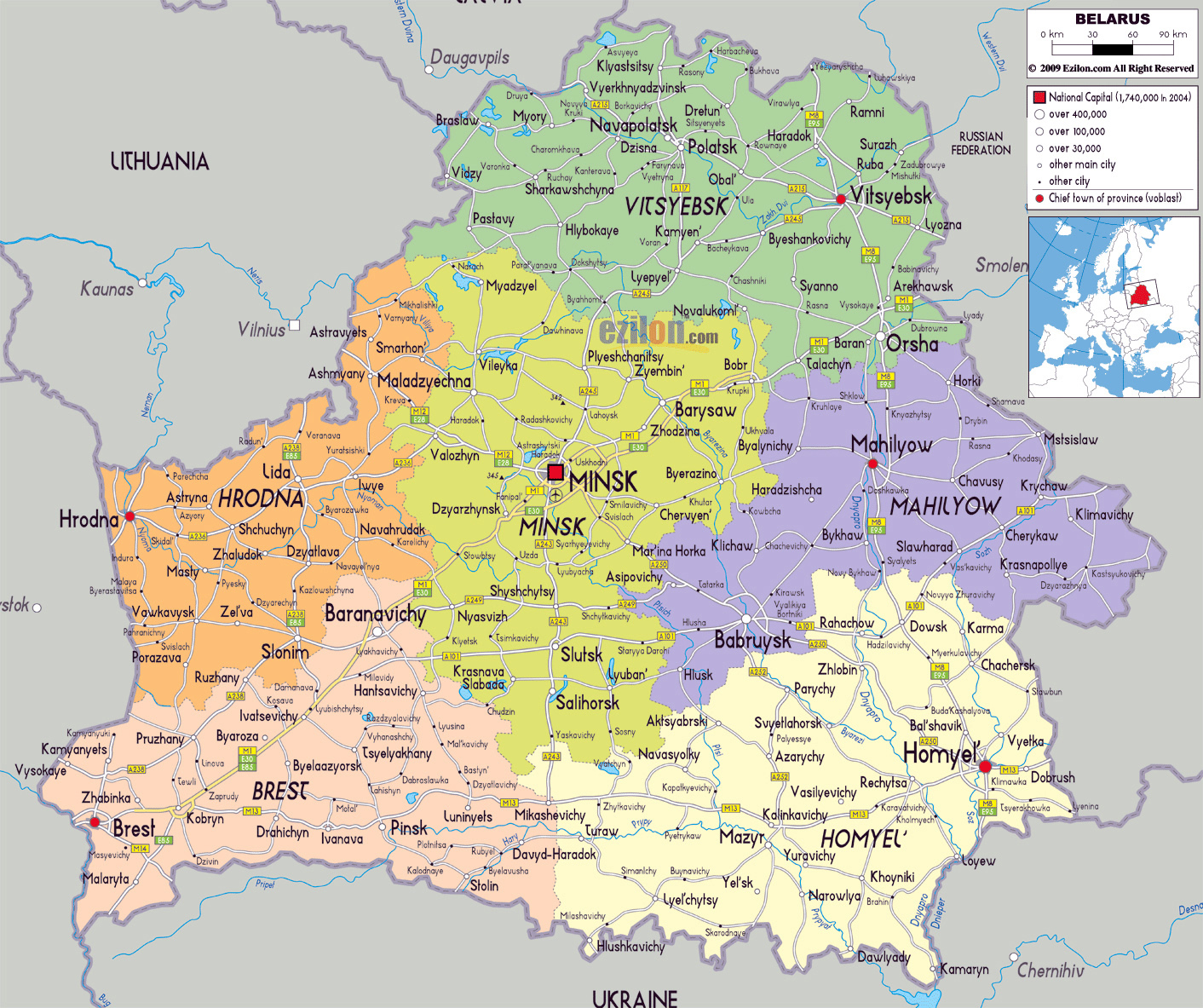 Large political and administrative map of belarus with roads cities large political and administrative map of belarus with roads cities and airports gumiabroncs Choice Image