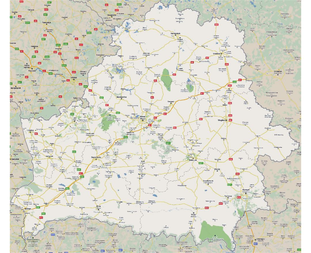 Large road map of Belarus with all cities